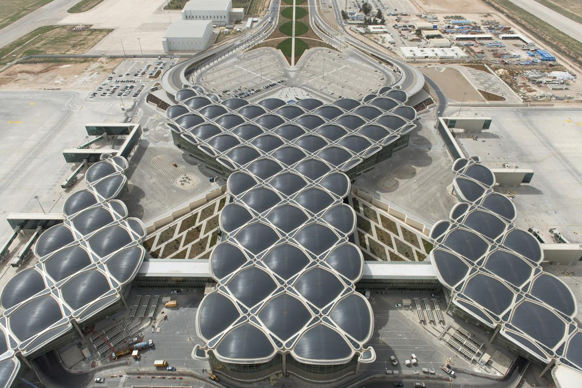The new Queen Alia International Airport recently opened in Jordan with an energy efficient, modular design modeled after palm fronds
