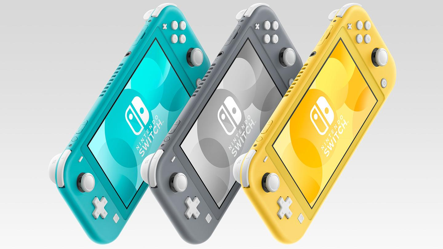 The new handheld Nintendo Switch Lite console is available in three colors