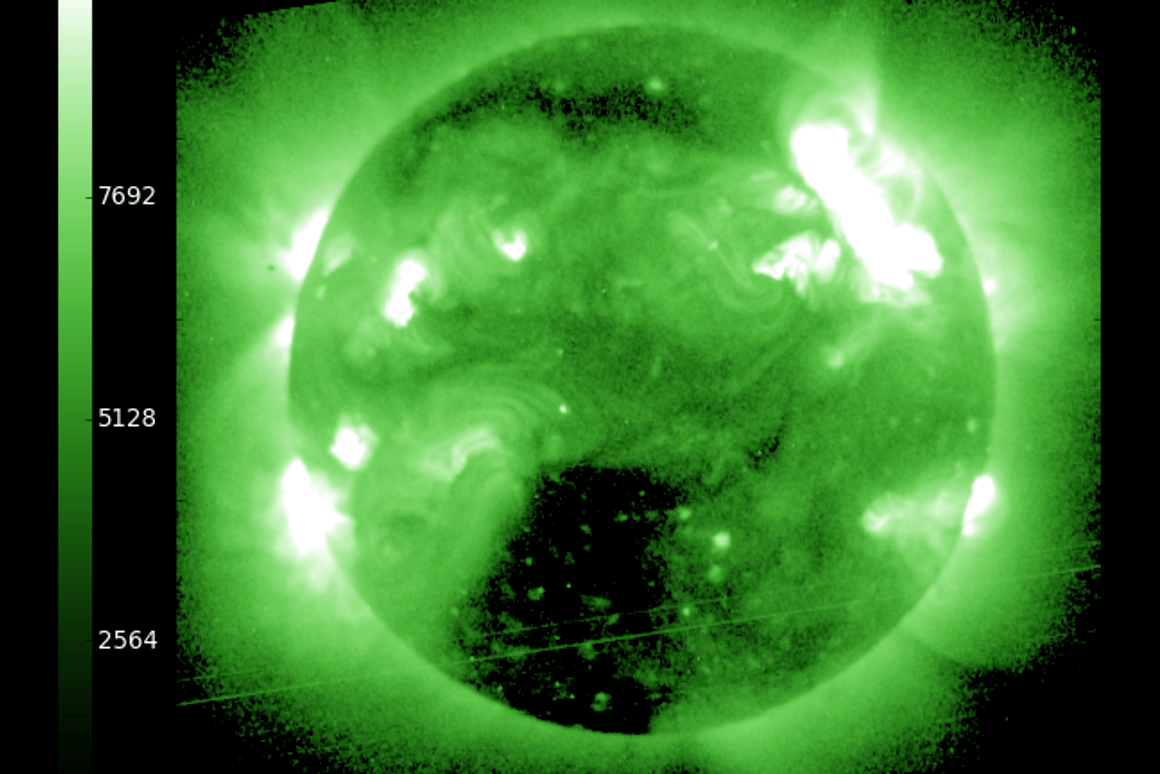 The solar flare (top right) that sent the CME heading our way (Image: National Weather Service's Space Weather Prediction Center)
