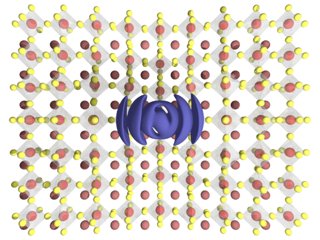 Diagram depicting the distortion of the atomic lattice structure in perovskite crystals, and the formation of a quantum-dot-like particle