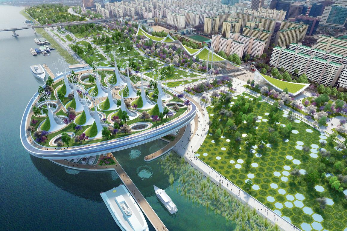 Sustainable manta ray-shaped ferry terminal floated for Seoul