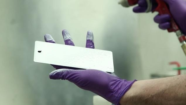 The glass paint is applied to a test surface