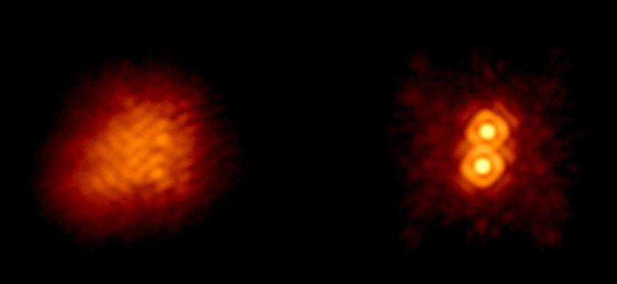 Action of the 5-meter Hale telescope's adaptive optics system - the separation of this double star is 0.3 arcsec (Photo: Chas Beichman and Angelle Tanner of NASA/JPL)