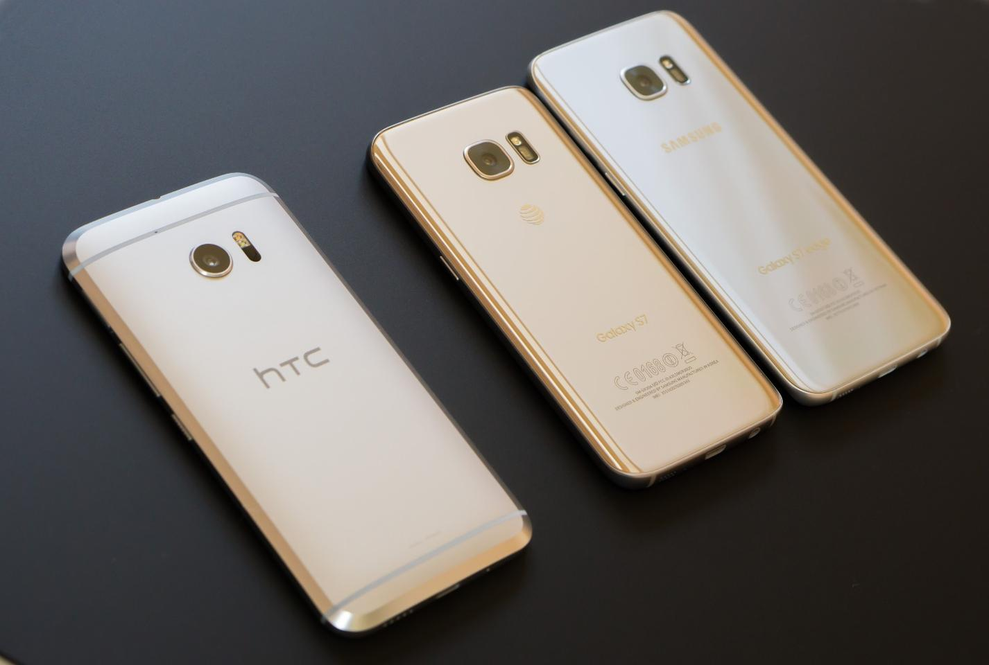 The HTC 10 with the Galaxy S7 and Galaxy S7 edge