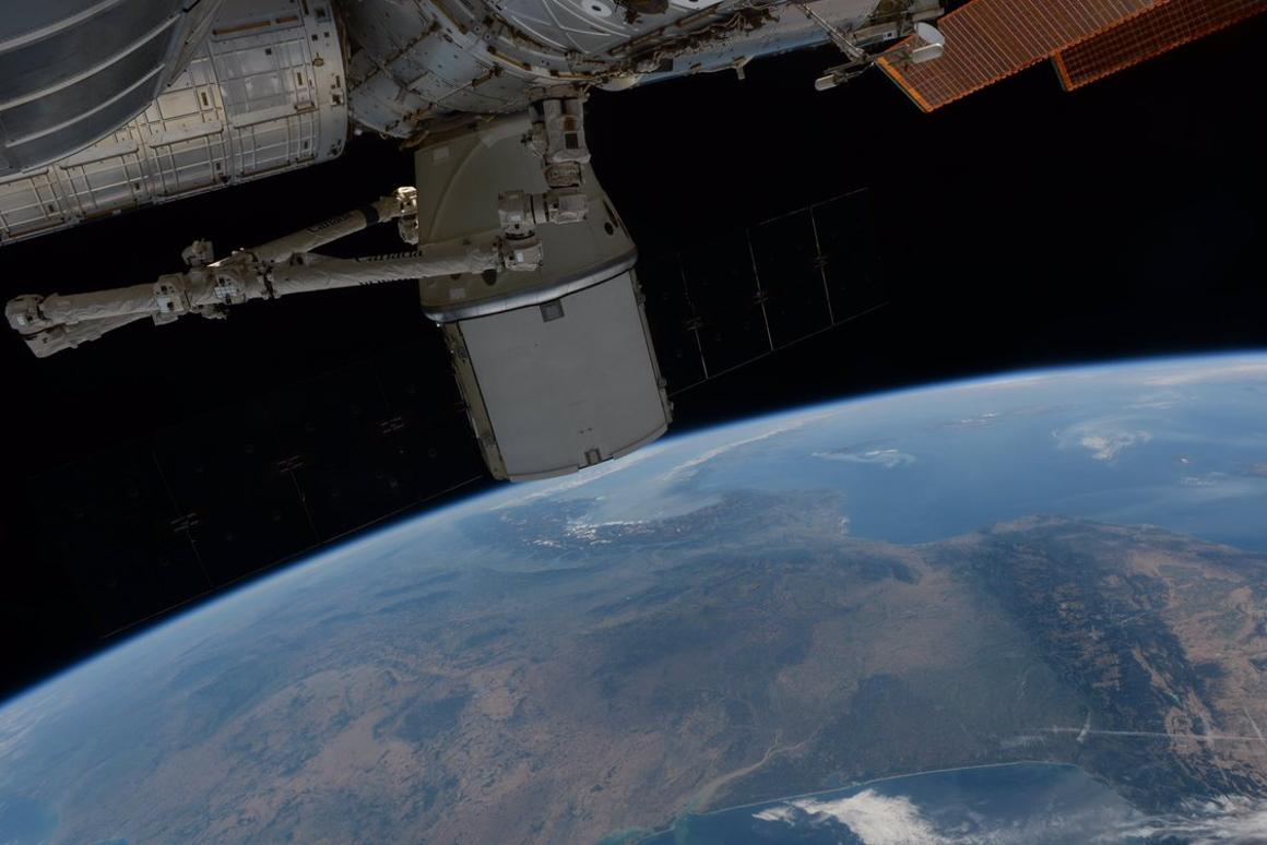 The Dragon spacecraft over Europe ahead of its return to Earth