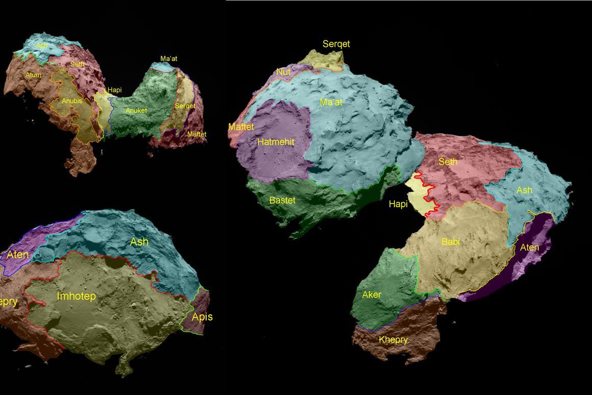Comet regional maps (Image: ESA/Rosetta/MPS for OSIRIS Team MPS/UPD/LAM/IAA/SSO/INTA/UPM/DASP/IDA)