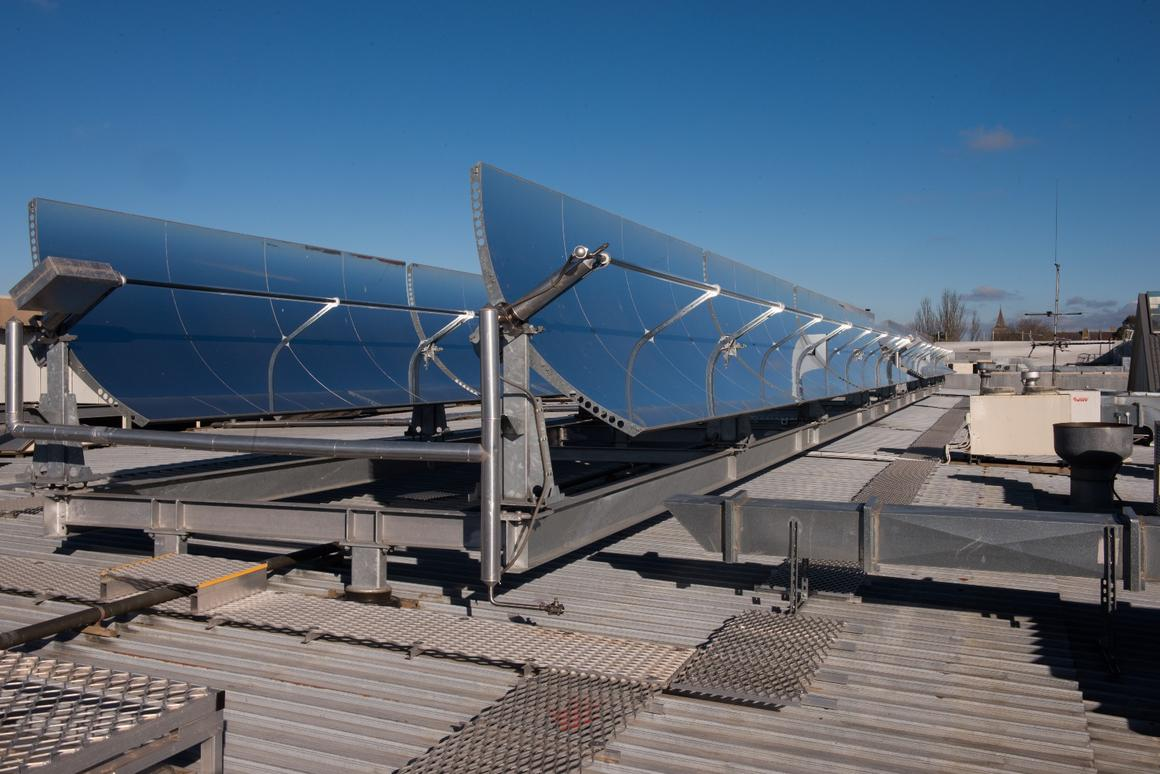 Solar-concentrating thermal collectors atop the Stockland Wendouree Shopping Centre