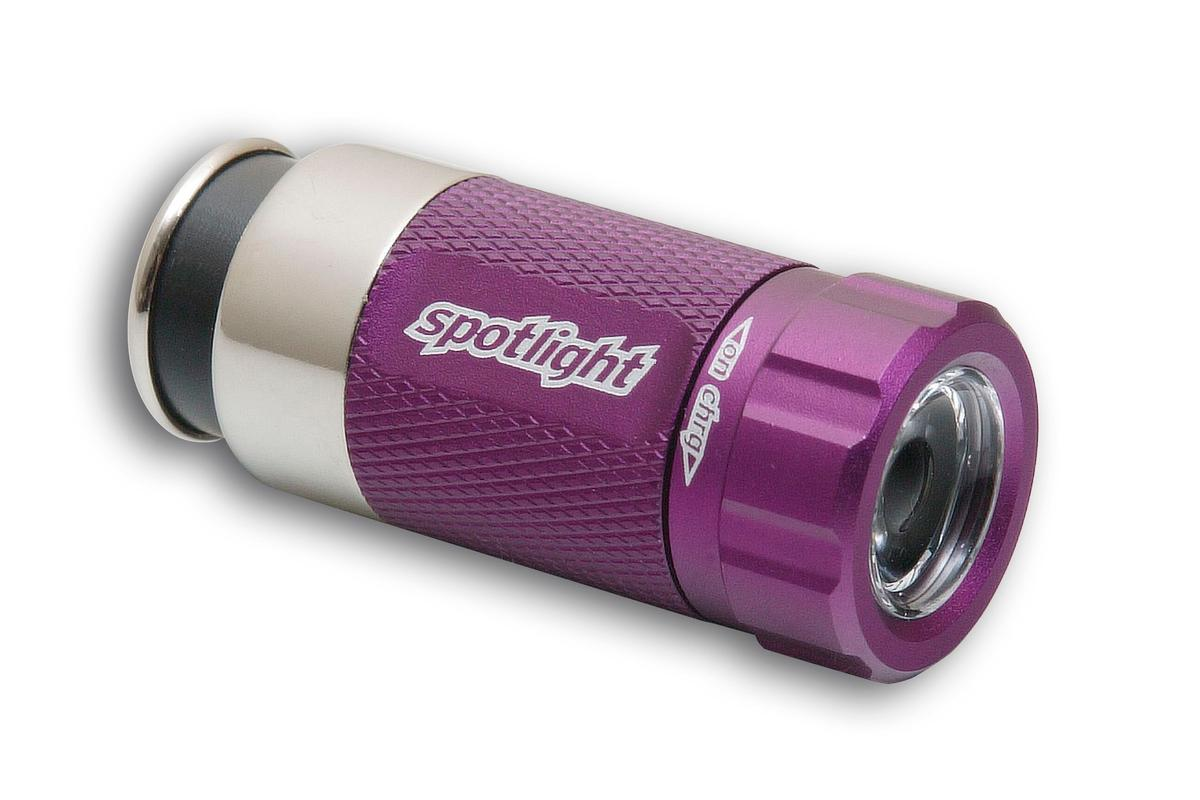 The Spotlight, in lovely Pimp Purple. The plug-in flashlight stays charged in your car - where you need it