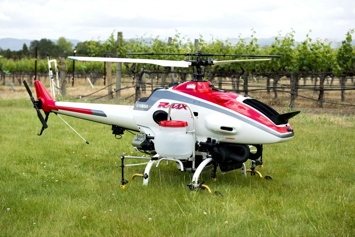 The Yamaha RMax helicopter used in the UC Davis tests
