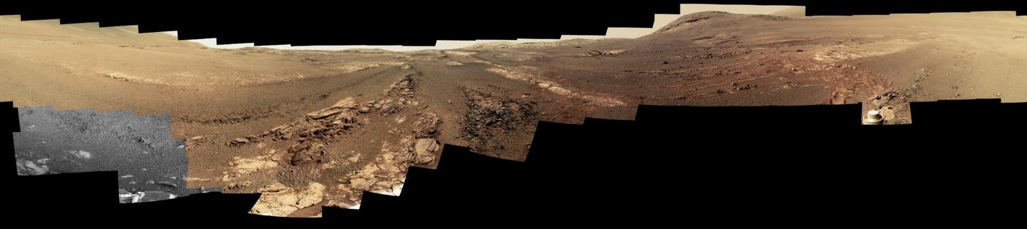 Among Opportunity's final data is anear-true color, 360-degree panorama of the area around what would become the rover's final resting place