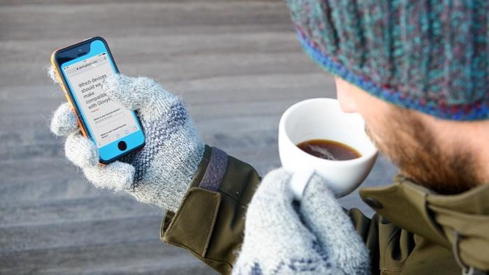 Glovys sits between your smartphone and your gloves, letting the two play nicely together