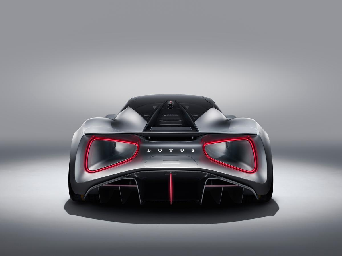 On the LotusEvija giant venturi tunnels exit at the rear, rimmed by the taillights