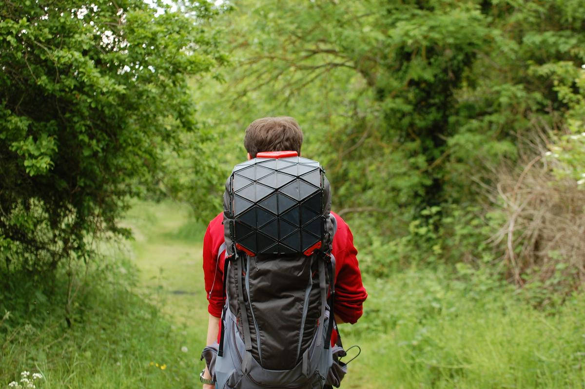 Bradley Brister created the SunUp solar backpack charger prototype as part of his degree at Brunel University, London