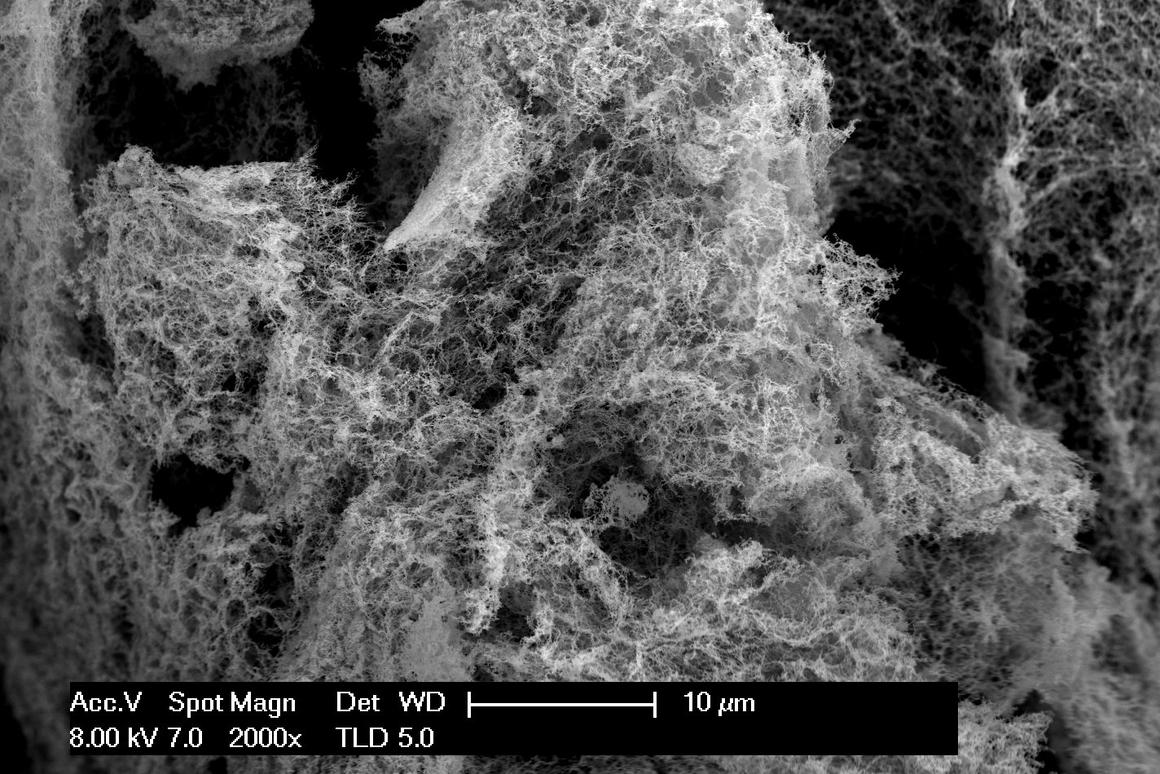 """Researchers at Washington State University have developed a """"nanofoam"""" out of nickel and iron, creating a more efficient and less expensive catalyst for water electrolysis"""