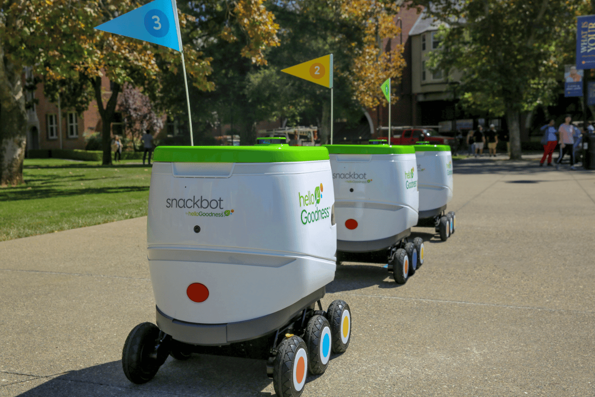 A team of self-driving vending wagons are being unleashed on theUniversity of the Pacific campus in Stockton, California