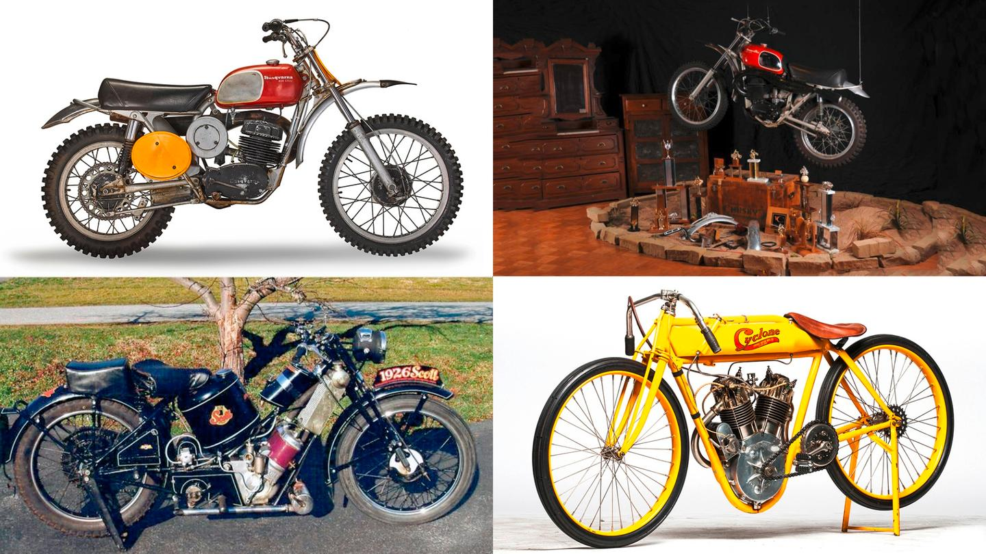 """Top left: Steve McQueen's 1970 Husqvarna 400 Cross appeared on the front of Sports Illustrated in 1970, and was the bike he rode during the 1970 movie, """"On Any Sunday"""". The bike will be auctioned at Bonhams Barber Motorsports Museum auction in Birmingham, Alabama on October 6 (2018). Top right: Another ex-McQueen Husqvarna 400 Cross built in 1971 sold for $144,500 during Monterey Car Week in 2011. Bottom Left: Another ex-McQueen bike, a 1929 (incorrectly stated on the number plate) Scott Flying Squirrel 600cc restored by Von Dutch sold for $276,000 in 2009. Bottom Right: The ex-McQueen 1915 Cyclone Board Track Racer was once the most valuable bike ever sold at auction, selling for $852,500 at Mecum's E.J. Cole auction held in March, 2015."""