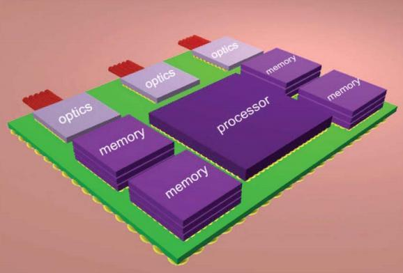 The design IBM envisions for its nanophotonics chips by 2015 (Image: IBM)