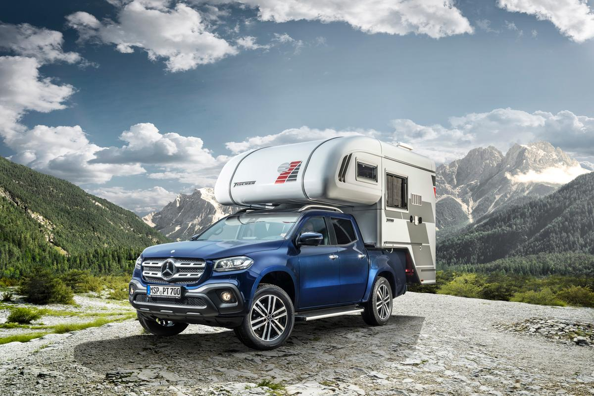 One of the two camper concepts Mercedes will show at CMT wears an alcove pickup camper from Tischer