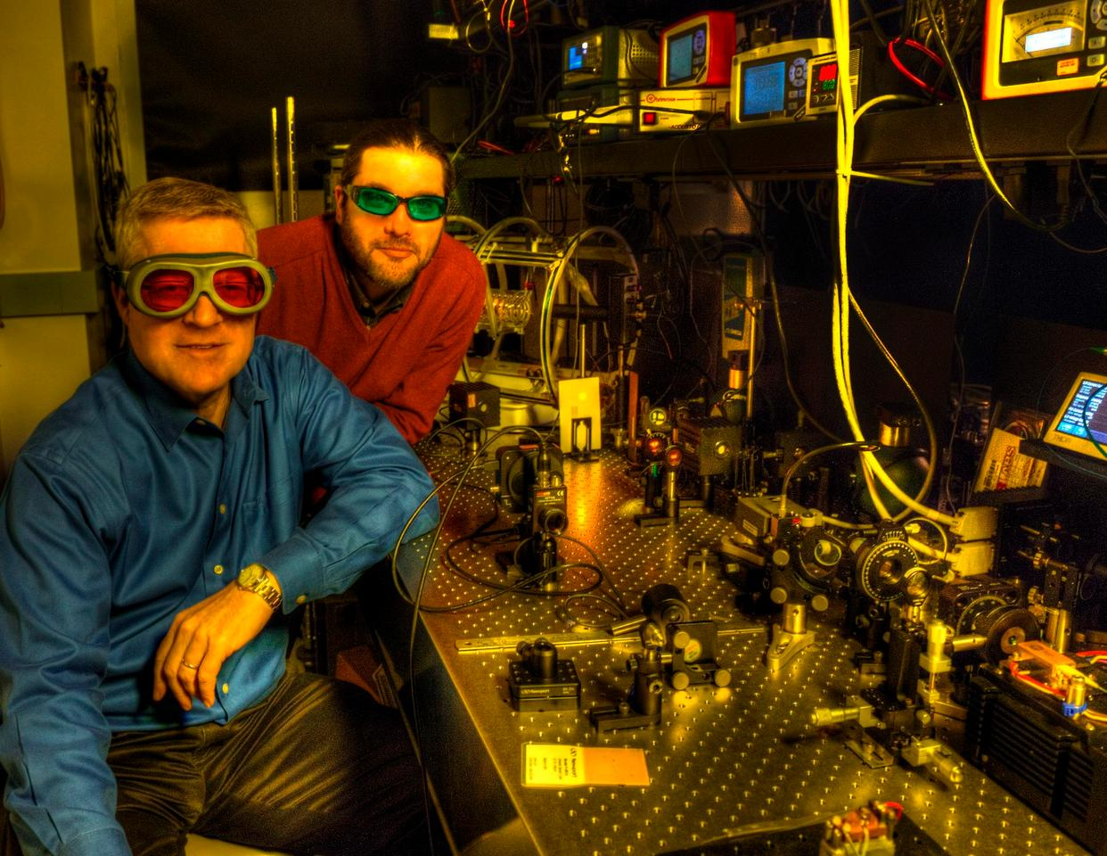 Mike Krainak (left) and Diego Janches from NASA's Goddard Space Flight Centerare developing a way to investigate Earth's mesosphere space-based laser pulses