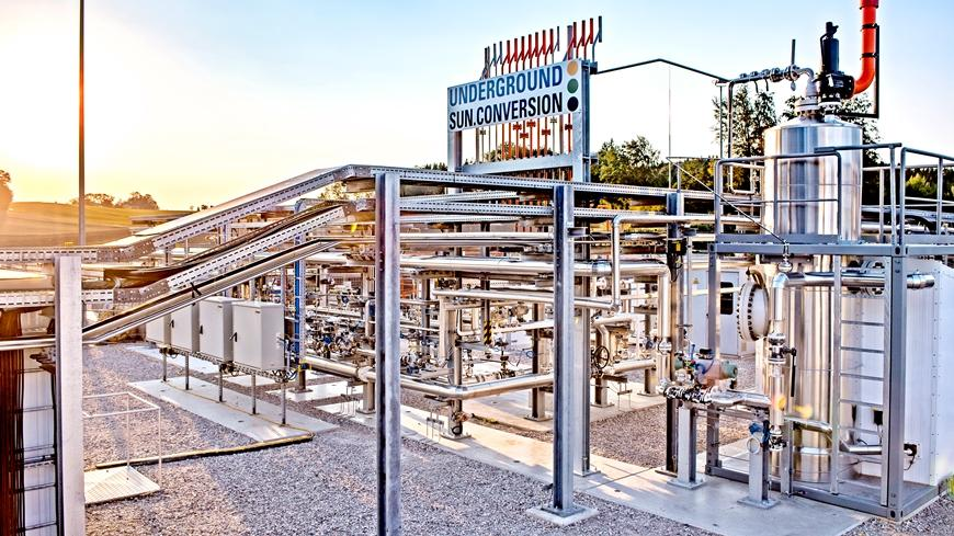 An Underground Sun Conversion pilot plant injects hydrogen and CO2 into an underground deposit