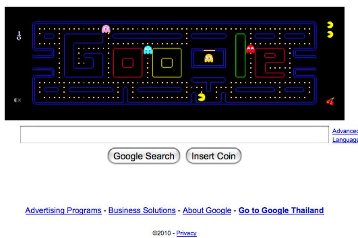 Pacman's 30th birthday tribute on the front page of Google