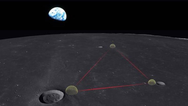 An artist's impression of the Gravitational-wave Lunar Observatory for Cosmology (GLOC), a gravitational wave observatory that could be built on the Moon