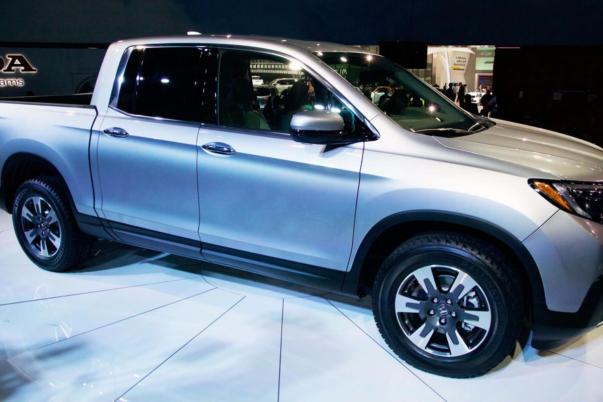 The 2017 Honda Ridgeline, on display in Detroit