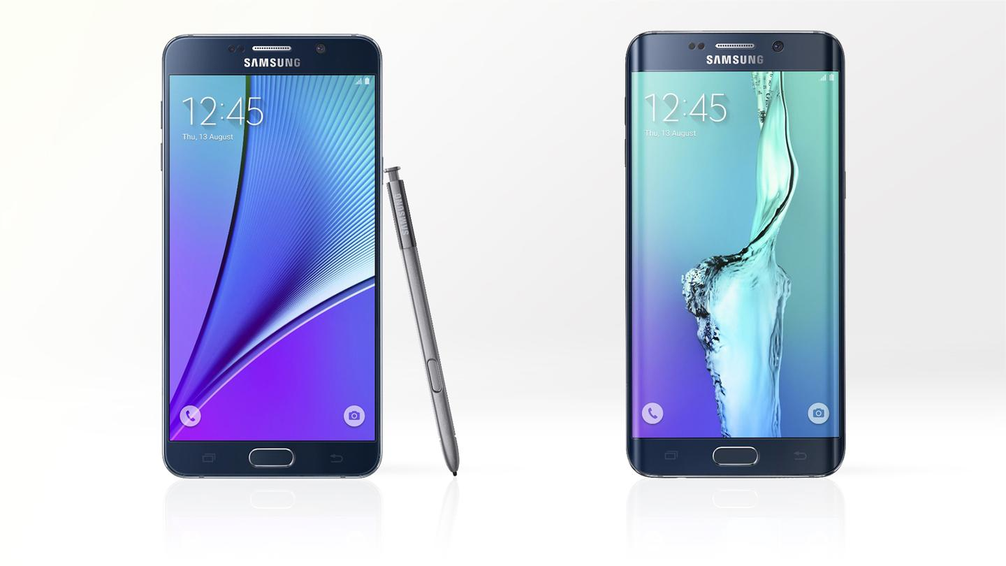 Gizmag compares the features and specs of the Samsung Galaxy Note 5 (left) and its pen-less twin, the Galaxy S6 edge+