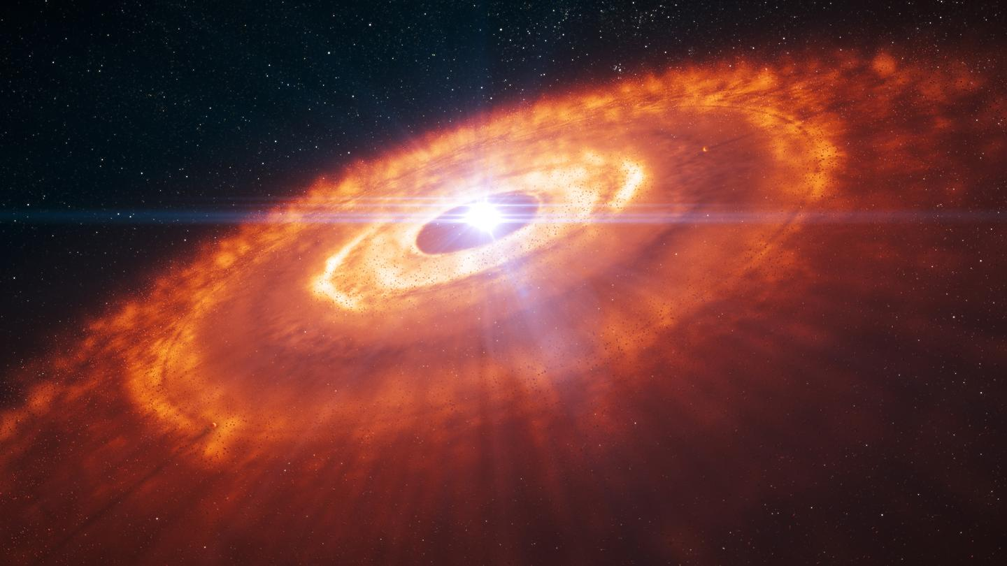 An artist's impression of the young star surrounded by a protoplanetary disk (Image: ESO/L. Calçada)
