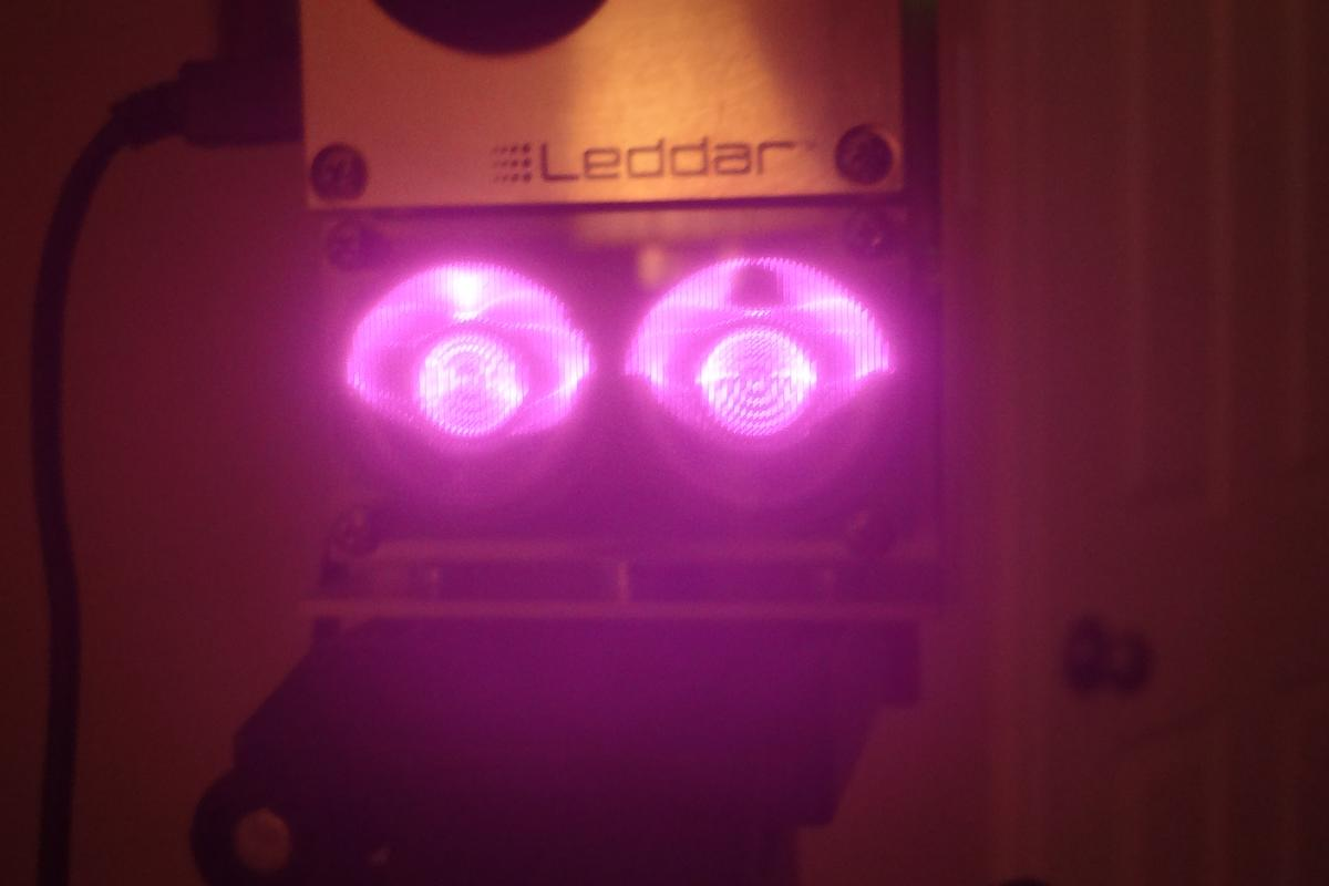 This near-infrared photo shows the invisible IR LED's on the Leddar in action