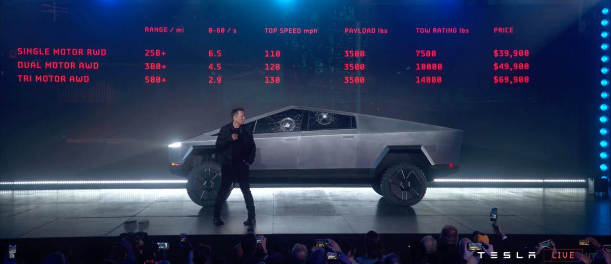 Tesla's bizarre Cybertruck, with two unfortunately non-smash resistant windows