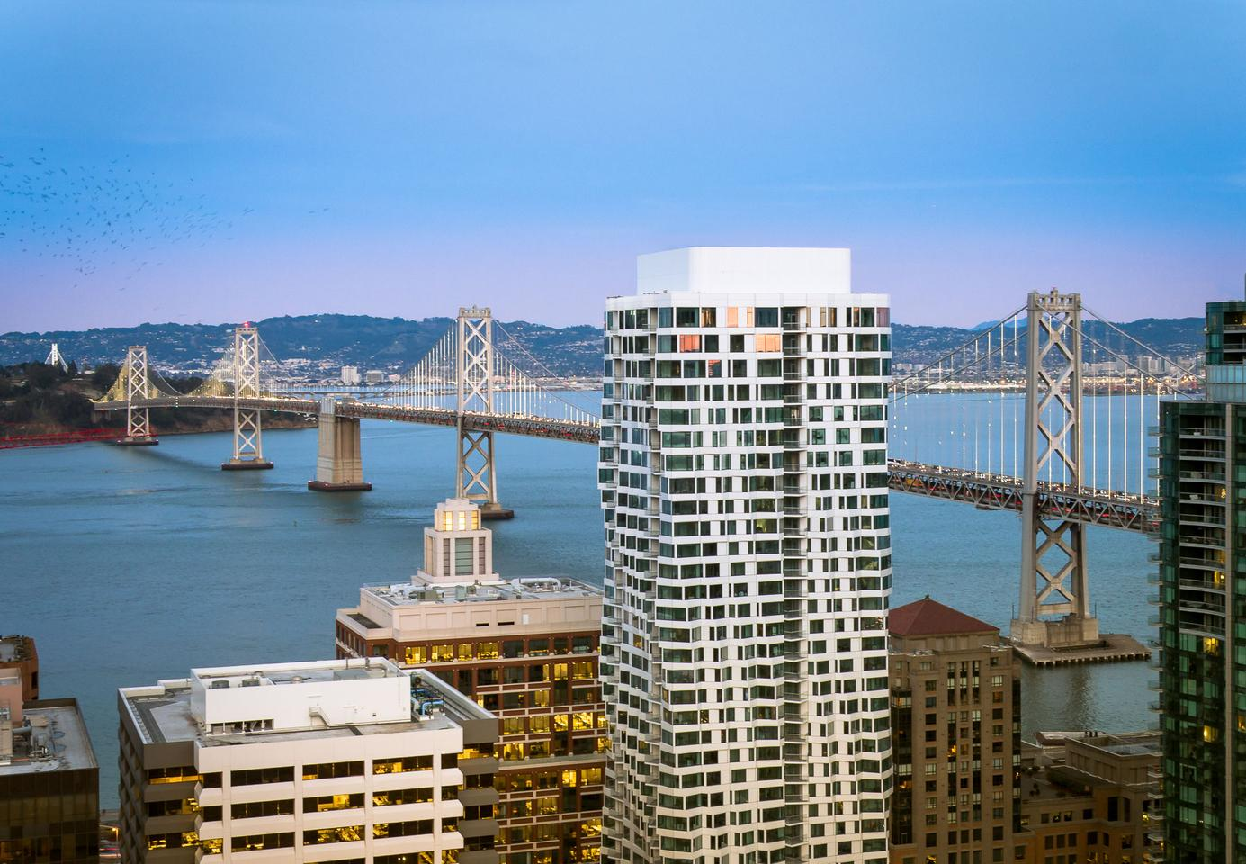 Mira is located in San Francisco and offers residents views of San Francisco Bay, the Bay Bridge, and the city skyline