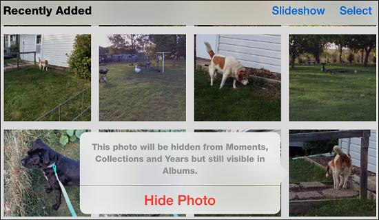 Hide photos from your local collection