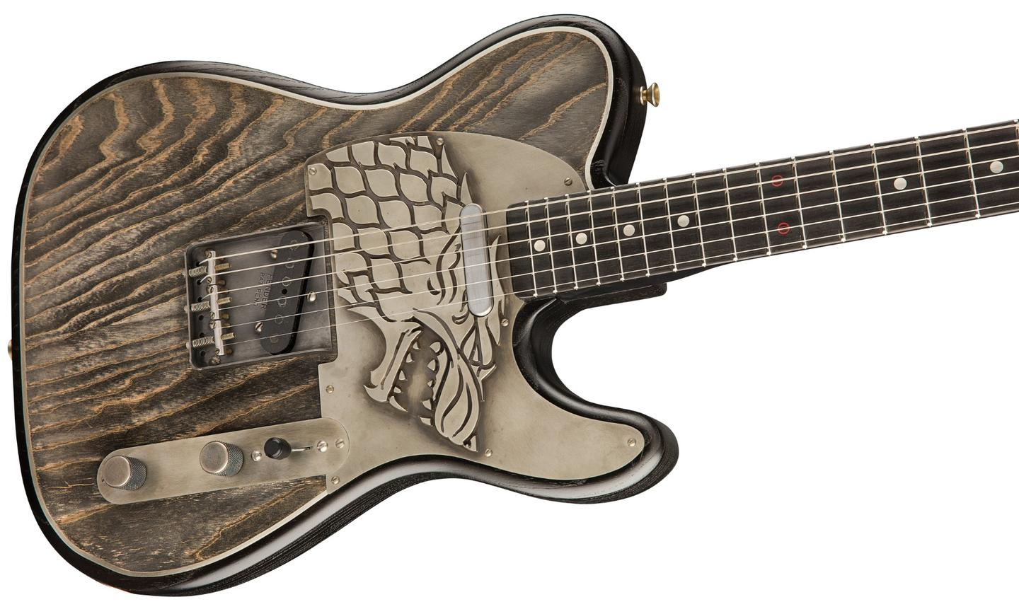 The Game of ThronesHouse Stark Telecaster features a Dire Wolf sigil embossed in nickel silver on the pickguard