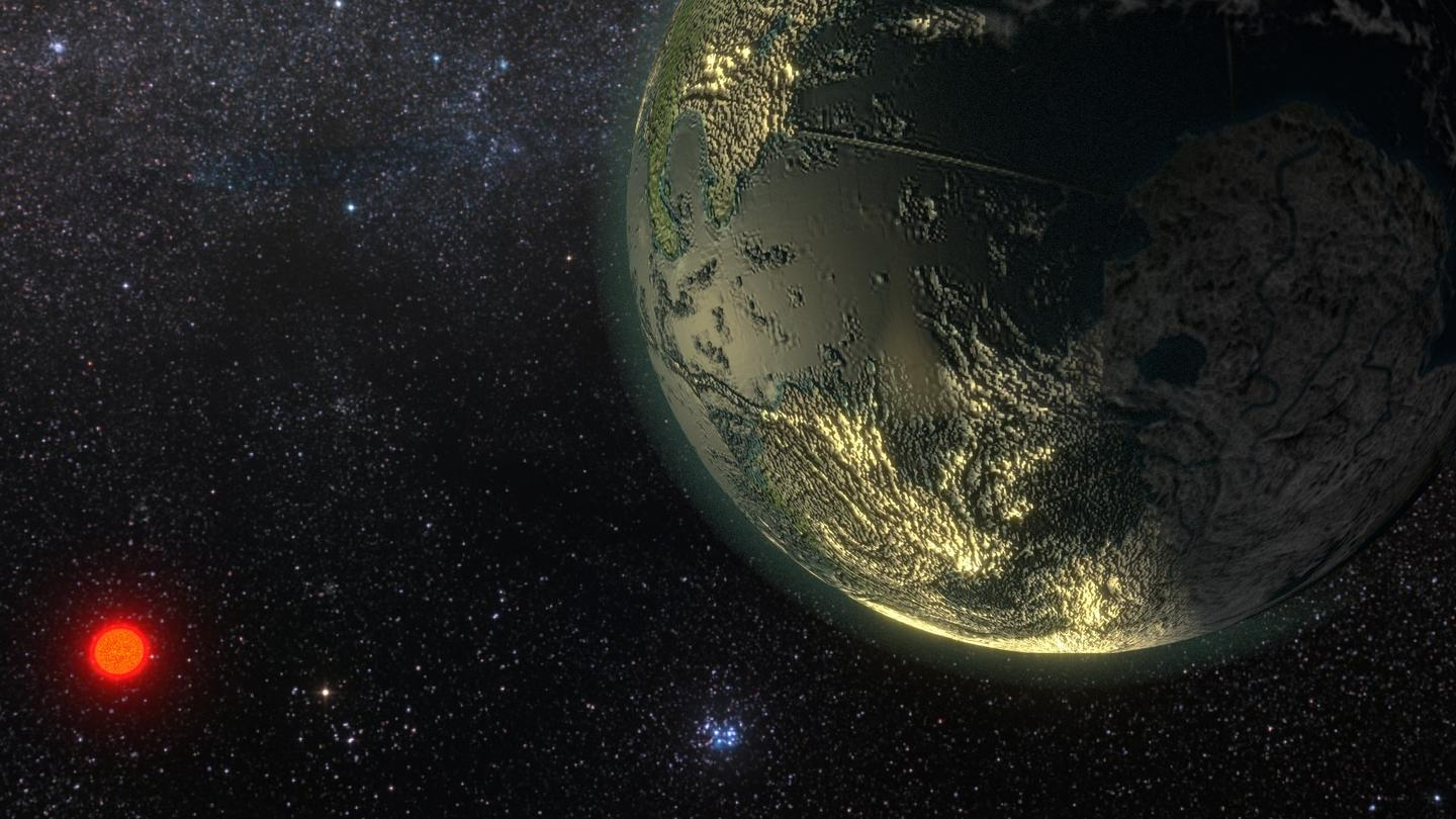 Artist's impression of an exoplanet in orbit around a nearby star