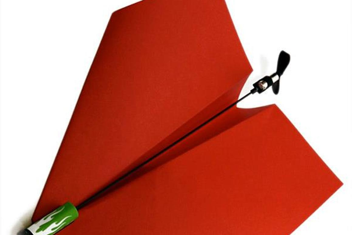 PowerUp 3.0 is a kit that allows users to remotely control a powered paper airplane, using their smartphone (PowerUp 2.0 pictured)