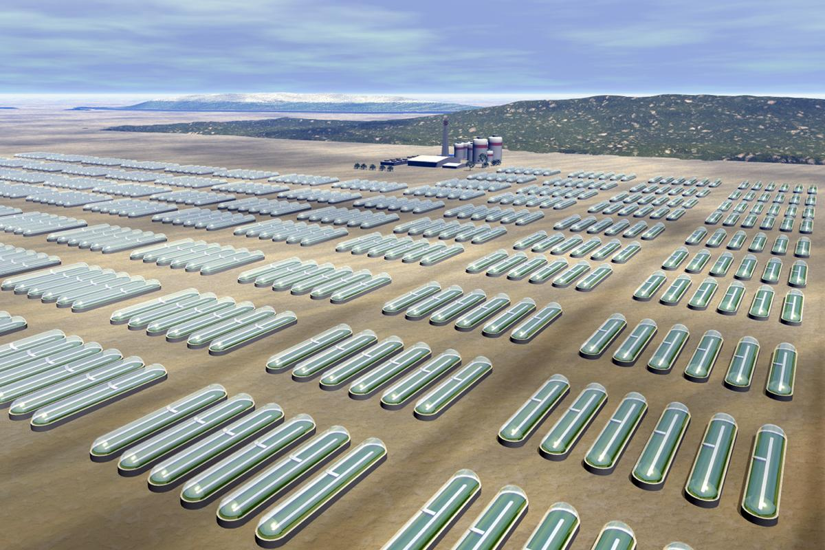 If HyperSolar has its way, solar hydrogen farms like that imagined here may not be so very far away (Image: HyperSolar)