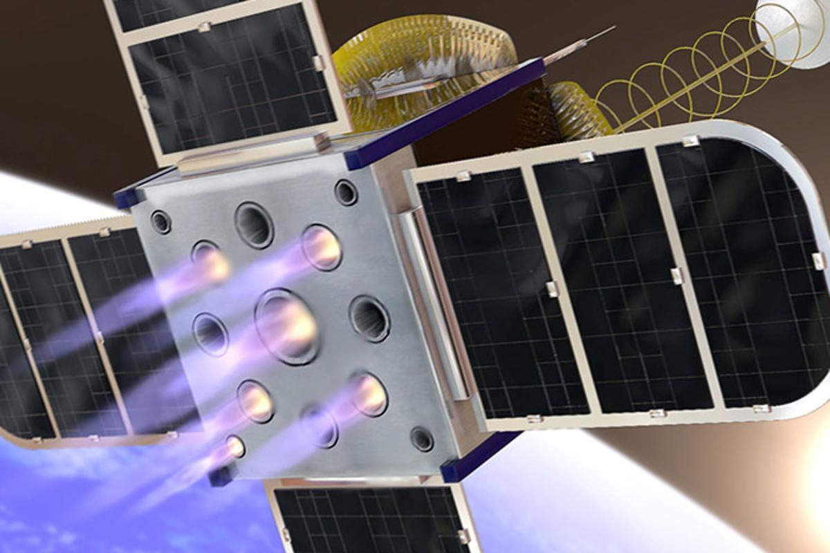 An artist's rendering of the CubeSat's new onboard propulsion system concept.