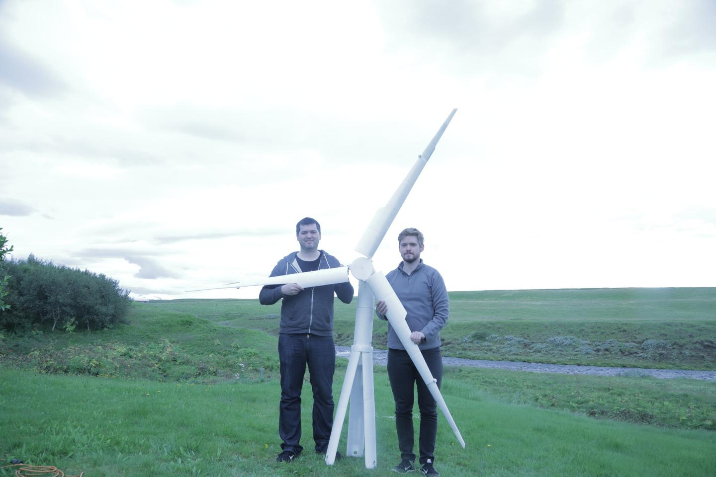 A 3D-printed prototype of the Trinity wind turbine, with company founders Einer and Agust Agustsson