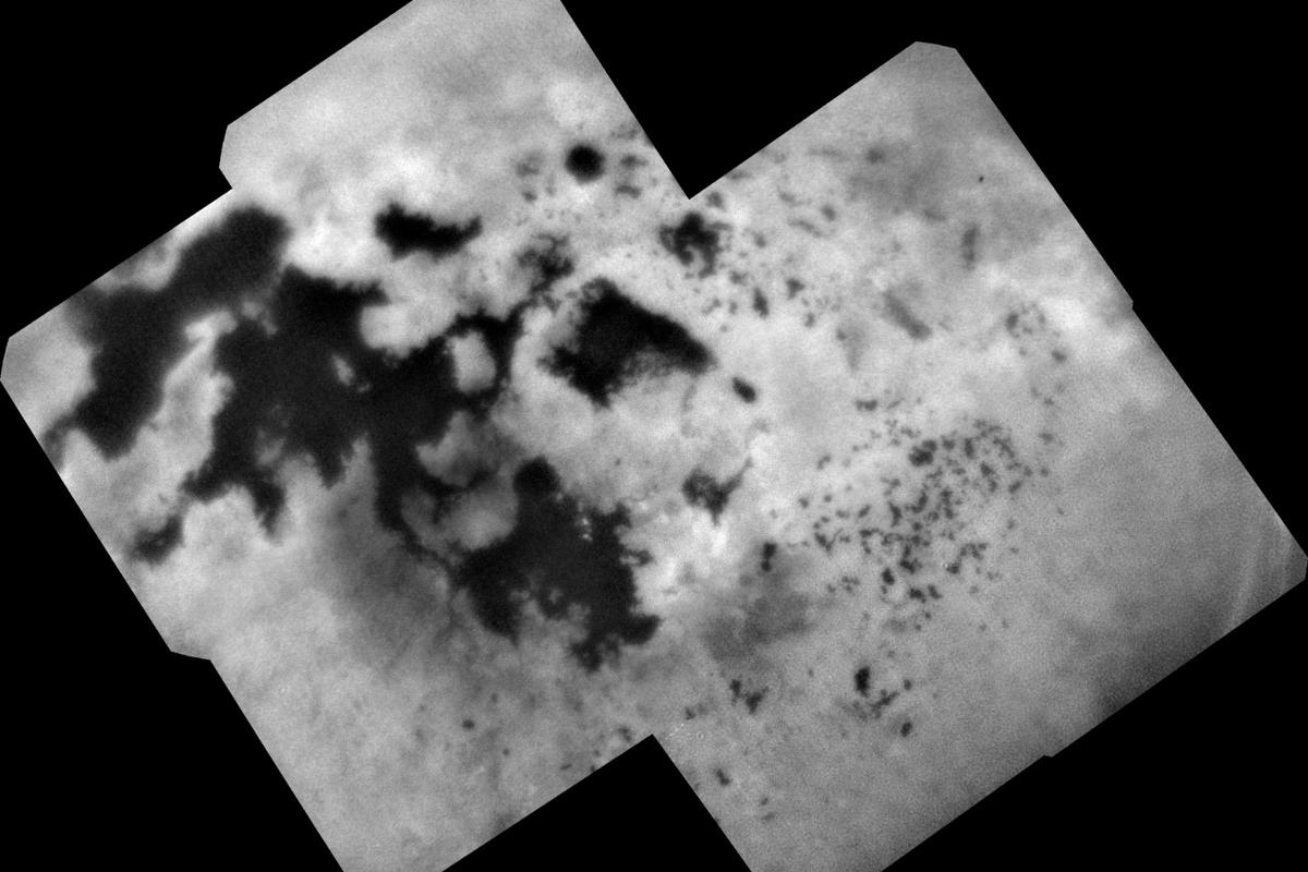 View of Titan's north polar lakes as seen by Cassini