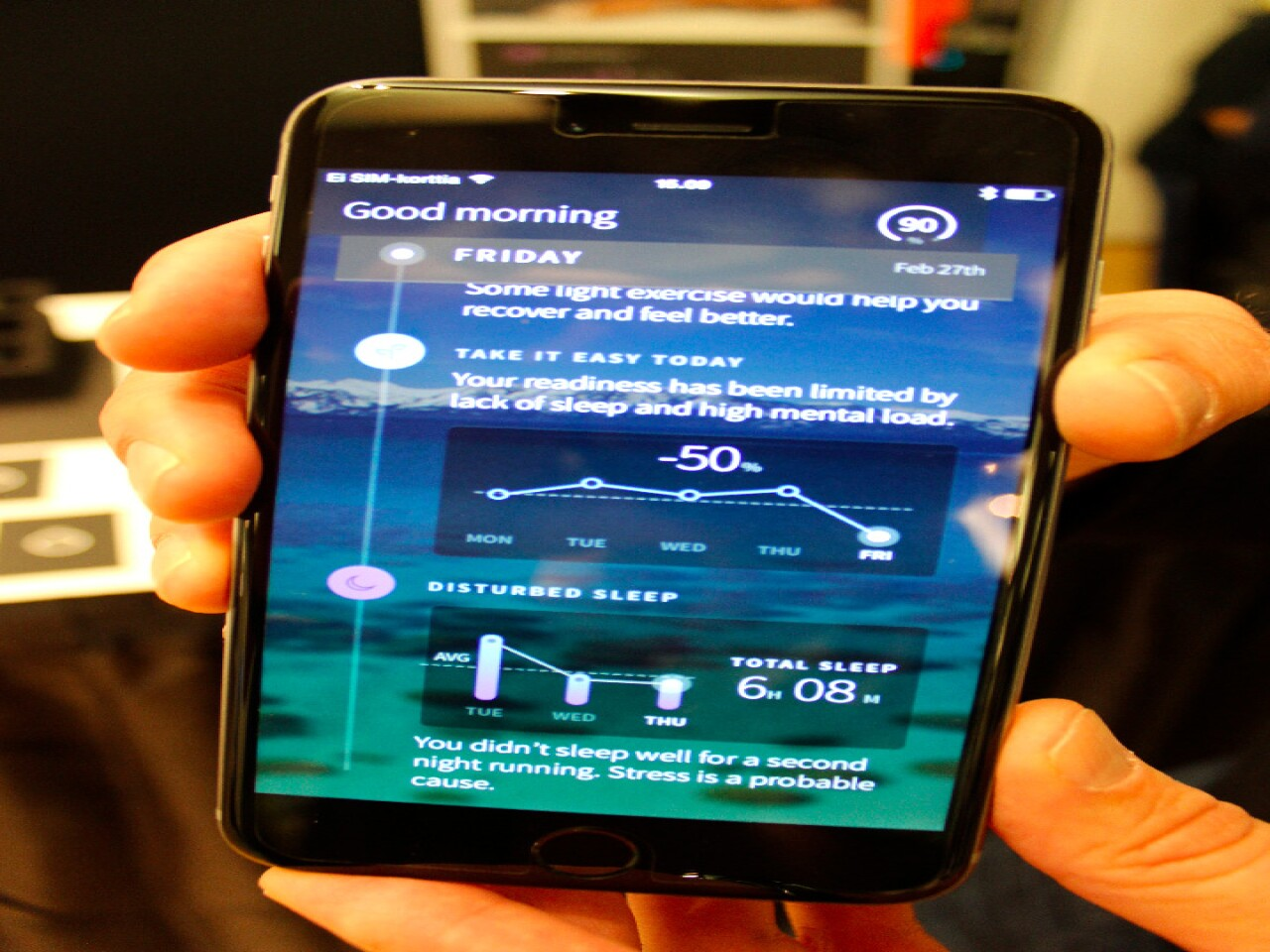 The Ōura ring app provides readouts and advice