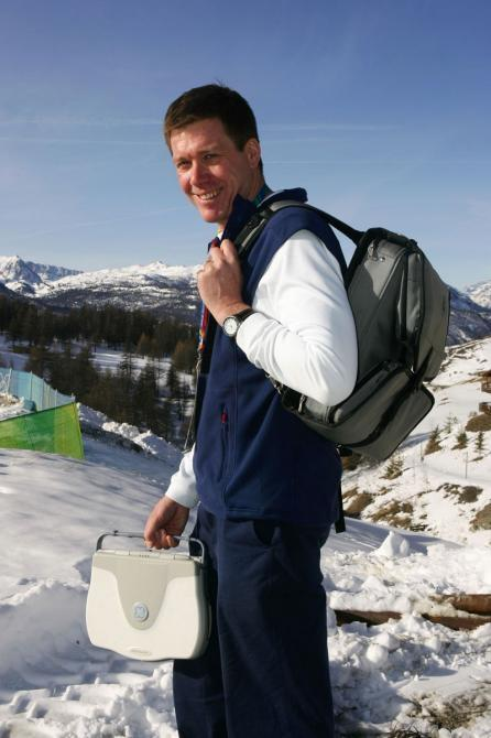 GE Healthcare's LOGIQ Book XP enables Team GB doctors to better treat their 35 Olympians with the help of ultrasound images of tendons, muscles and bones, common injury areas of elite athletes. Dr. Richard Budgett, Team GB's doctor is pictured with the ul