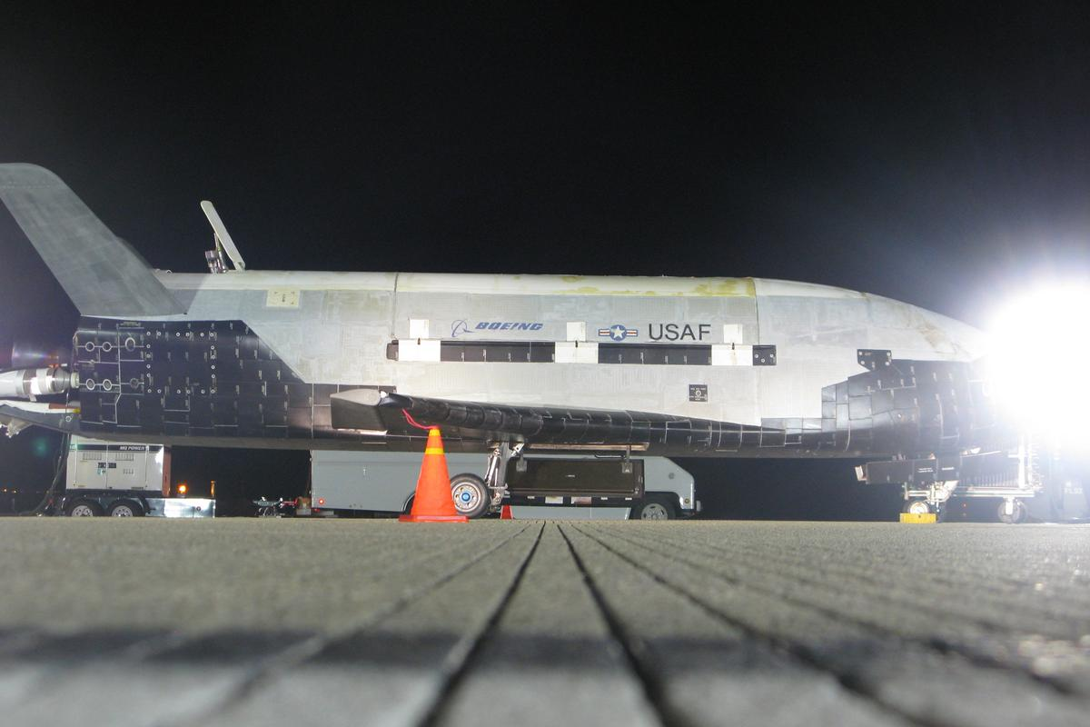 The X-37B after landing on Dec. 3 (Boeing photo)