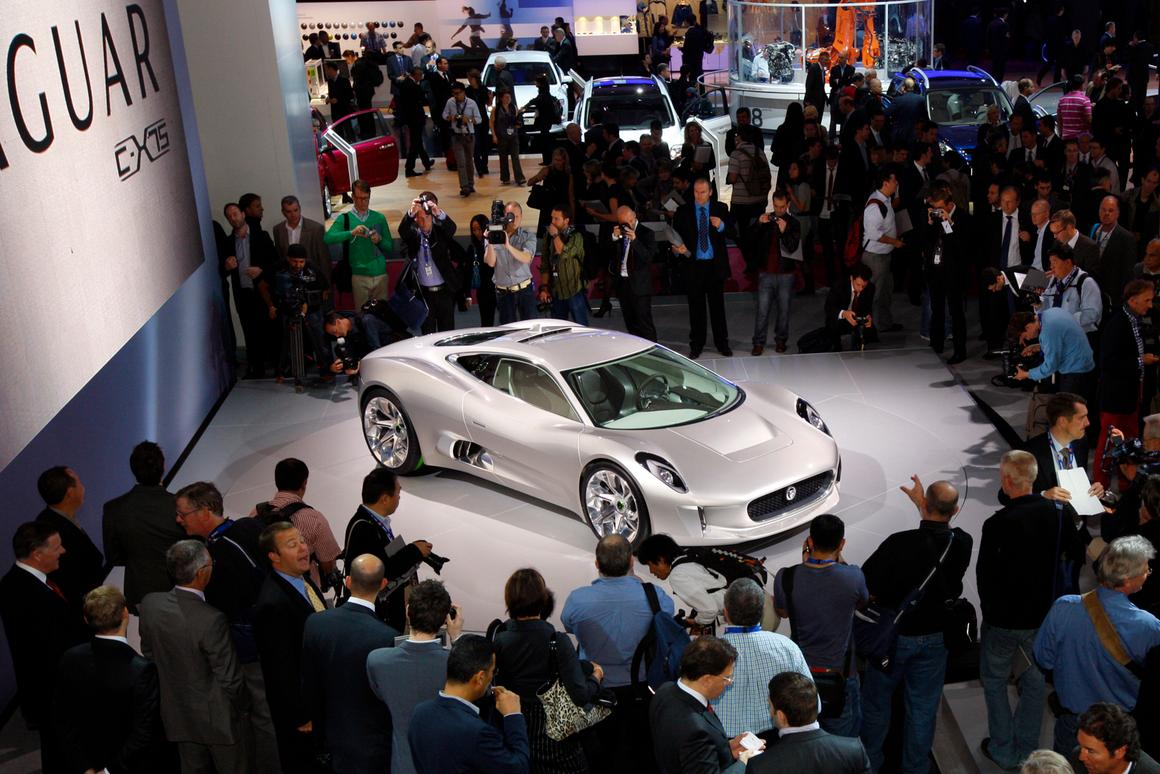 The Jaguar C-X75 concept shown last October in Paris, 