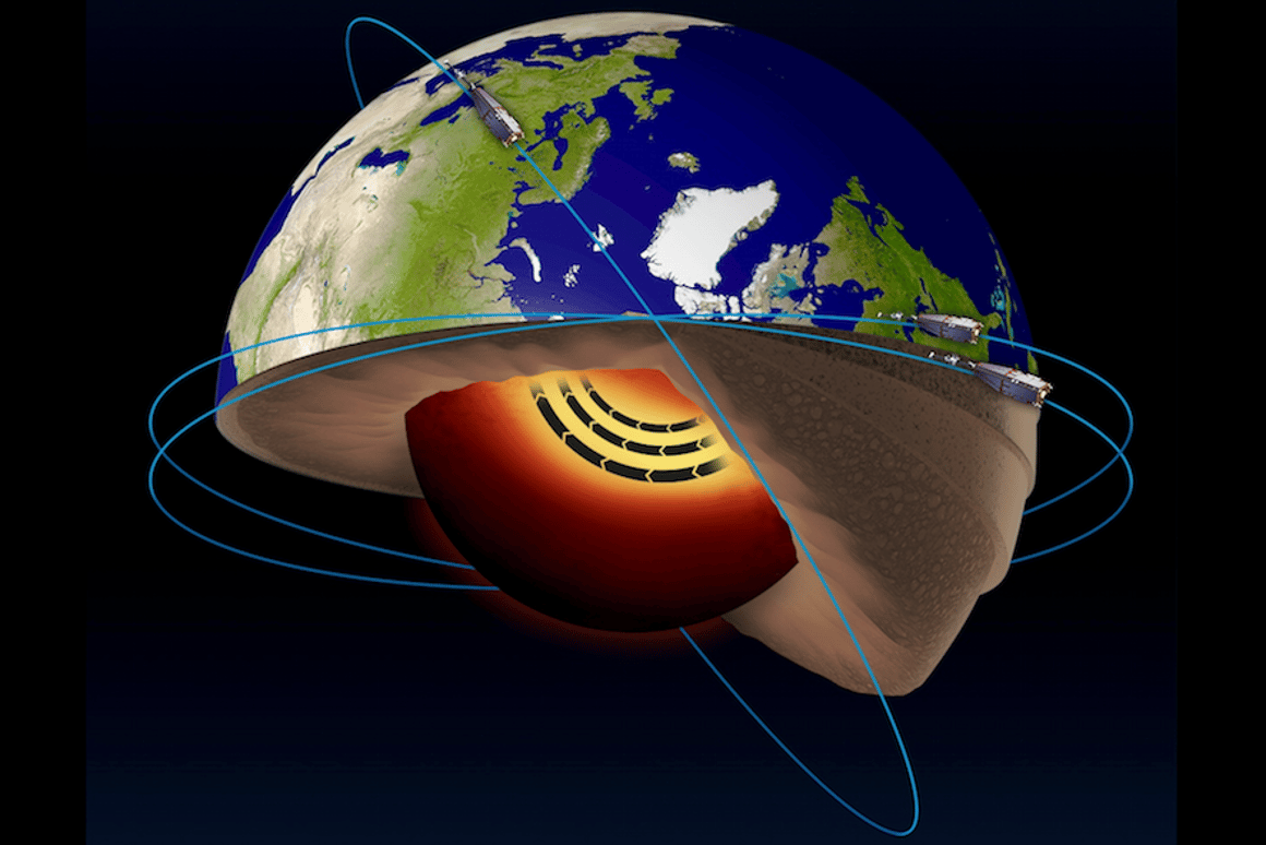 The European Space Agency's Swarm satellites haverevealed a jet stream of molten iron flowing within the Earth's outer core