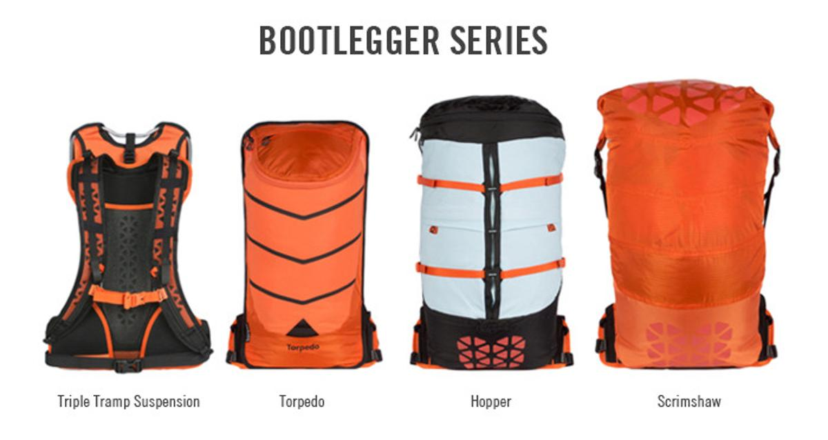 The Boreas Bootlegger Modular Pack System uses a shared suspension harness for three different packs