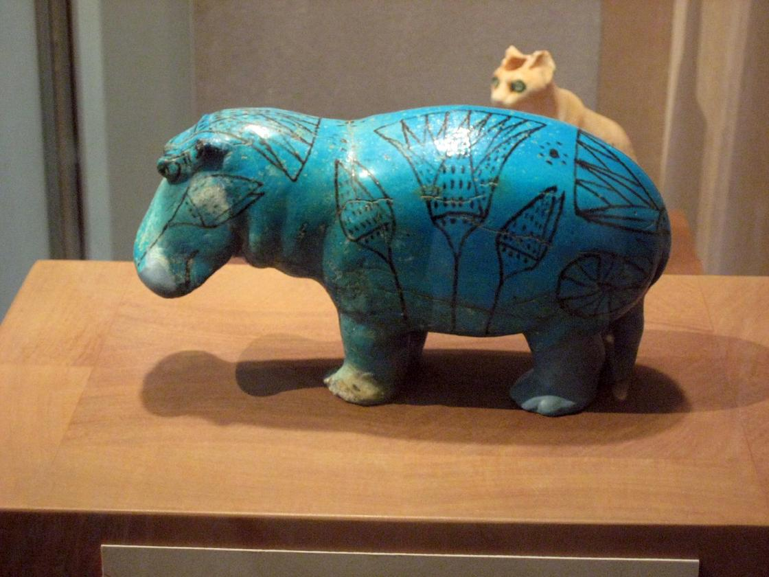 """William,"" a blue faience hippopotamus of the 12th Dynasty, in the Metropolitan Museum of Art, New York (Image: Claire H)"