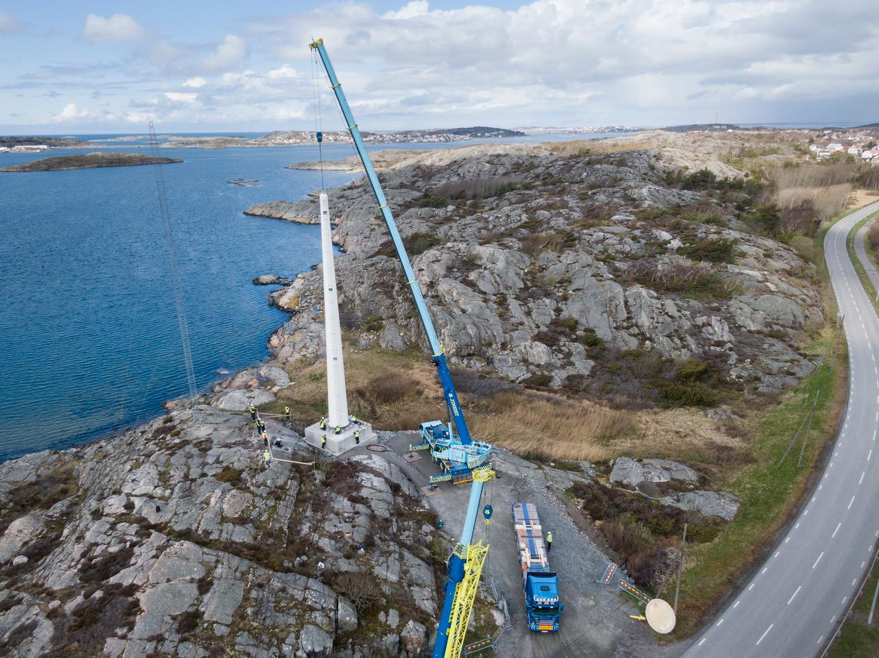 Sweden's first wooden wind power tower, standing 30 m high, has been erected outside Gothenburg