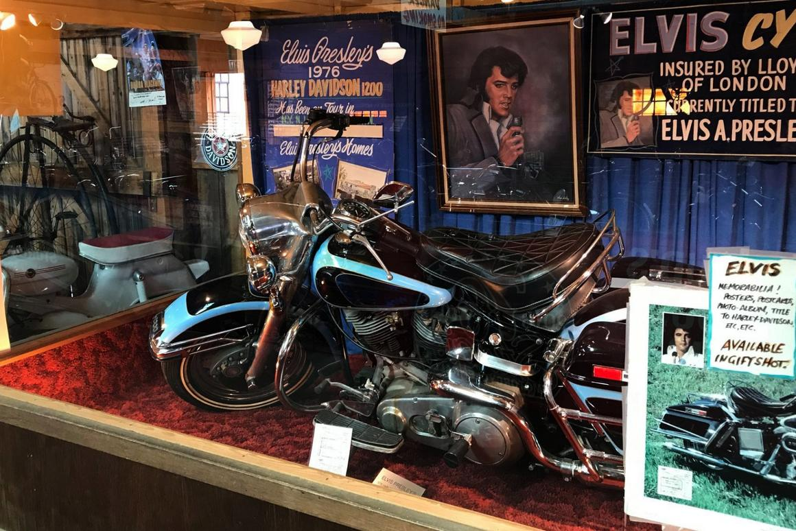Elvis Presley's 1976 Harley-Davidson FLH 1200 Electra Glide has been on display at the Pioneer Auto Museum for more than 30 years