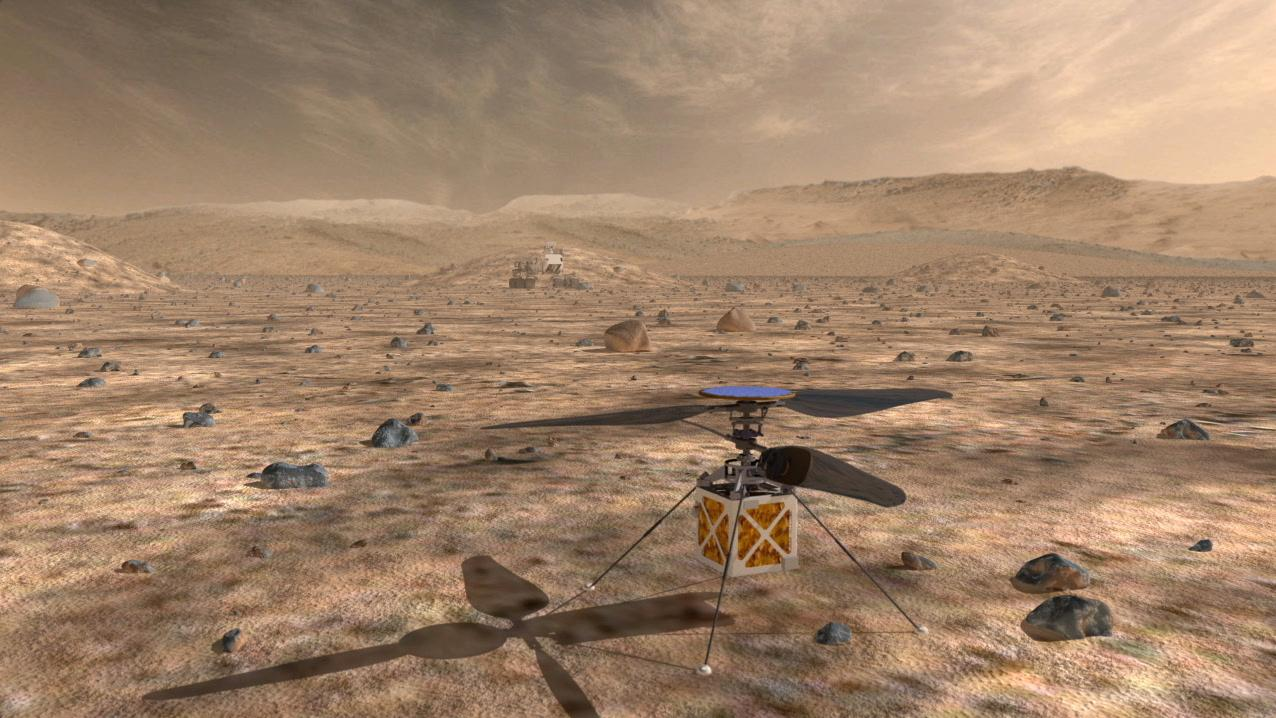 The Mars helicopter is solar powered (Image; NASA)